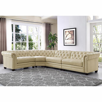 Miraculous Allington 4 Piece Top Grain Leather Sectional Eggshell White Forskolin Free Trial Chair Design Images Forskolin Free Trialorg